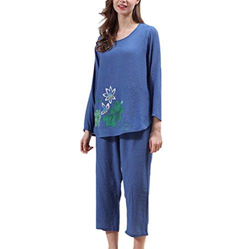 Zhhlaixing Charming Women's Loose Sleepwear Comfortable Long sleeves Pajamas Set Dark Blue
