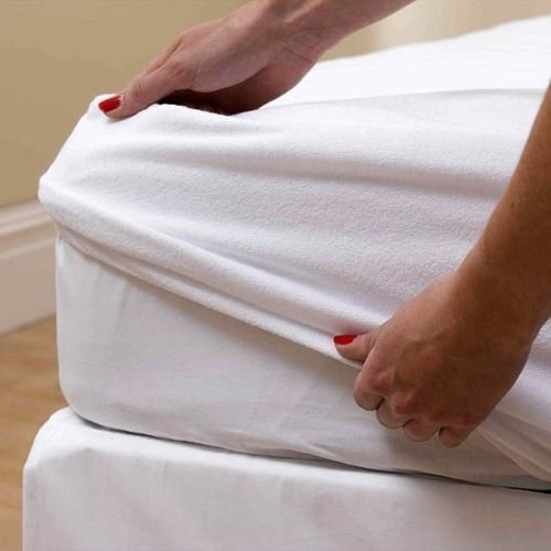 •ROHILinen• Antibacterial & Non-Allergenic Waterproof Mattress Protector Cover with Soft comfort Terry Towelling and Waterproof Layering, SIZE : DOUBLE BED