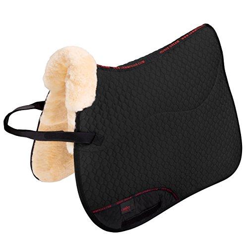 Lammfell Schabracke Dressur Spezial-D von CHRIST – Lammfell-Schabracke für Dressurreiten, mit Unterseite komplett aus echtem Fell, Dressurschabracke in schwarz, Größe Warmblut