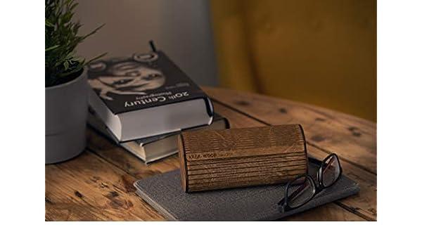 couleur marron de Krea-Wood Brand Etui /à lunettes en bois fait main avec 4 aimants Bouleau naturel