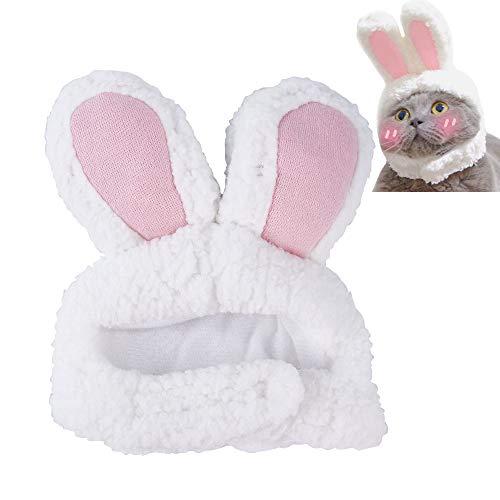 ASOCEA Osterkostüm Hase Hase Stirnband mit Ohren für Katzen und kleine Hunde Party Kostüm Kopfbedeckung Zubehör Halloween weiß und rosa