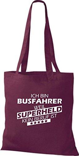 Shirtstown Stoffbeutel Ich bin Busfahrer, weil Superheld kein Beruf ist weinrot