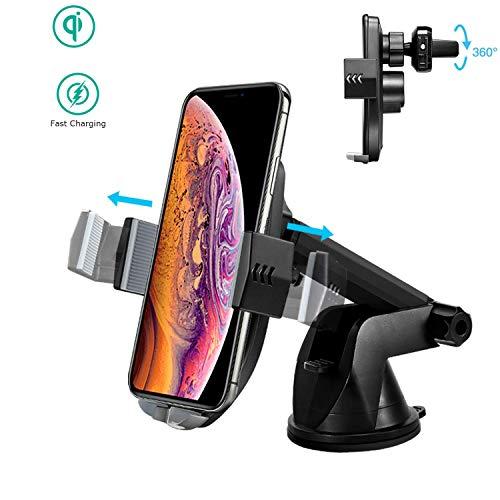 Kriogor Caricatore Wireless Auto, Supporto Telefono Ricarica Wireless da Auto per Samsung, Huawei Smartphone e Dispositivi Qi-Enab
