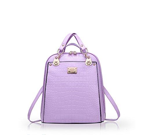 e8a206f531e02 NICOLEDORIS Neuer Trend Rucksack Umhängetasche Damen   Frauen  DualUseCollege Wind ModeReisetascheBlack Purple