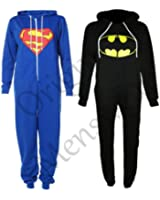 [Batman, 13-14] NEW KIDS GIRLS BOYS SUPERMAN BATMAN ZIP UP ALL IN ONE ONESIE JUMPSUIT 7-14YRS