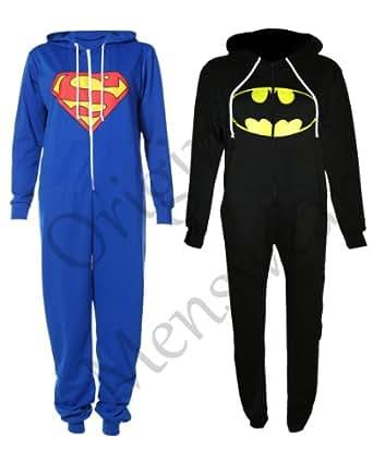 [Superman, 13-14] NEW KIDS GIRLS BOYS SUPERMAN BATMAN ZIP UP ALL IN ONE ONESIE JUMPSUIT 7-14YRS