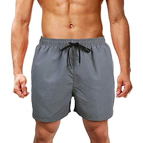 HHyyq Herren Shorts, Plus Size Herren Atmungsaktive Badehose Hosen Bademode Shorts Slim Wear Briefs Solide Strand Shorts für Sommer Strand Surfen Laufen Schwimmen Watershort(Grau,XXXXXL)