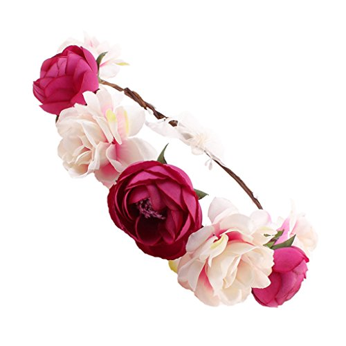 MagiDeal Frauen Braut Blume Stirnband böhmischen Pflaume Blume Crown Hairband - Rose