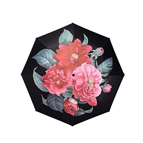 Y-S Parapluies Pliants Parasol Haut de Gamme Créatif Fleur de Thé Petit Parapluie Frais Double Anti-UV à Trois Plis Et sous la Pluie (Imprimé de Parapluie Extérieur)