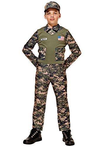 Jungen US American Armee Soldat Uniform Militär Kostüm Kleid Outfit 4-12 jahre - Grün, 10-12 (Kinder Uniformen Armee)