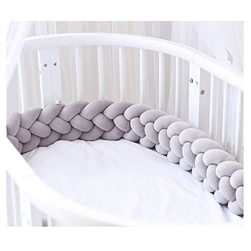 EXQULEG 220cm Baby 4 Weben Bettumrandung Nestchen Stoßstang Kantenschutz Kopfschutz für Babybett Bettausstattung Kinderbett (Grau)