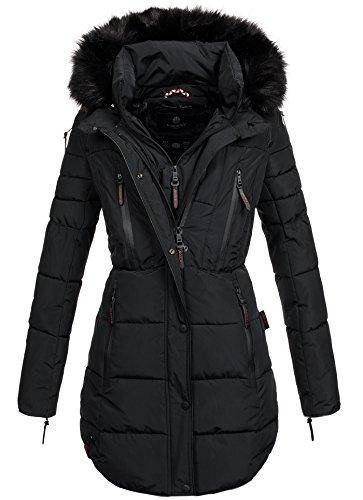 Marikoo warme Damen Winter Jacke Winterjacke Parka Stepp Mantel lang B401 [B401-Moonshine-Schwarz-Gr.S]