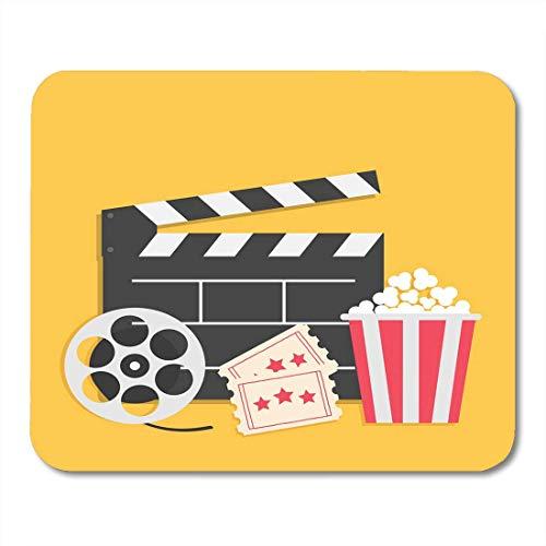 Deglogse Gaming-Mauspad-Matte, Big Movie Reel Open Clapper Board Popcorn Box Ticket Admit One Three Star Cinema Yellow Flat Design Style Mouse Pad,Desktop Computers