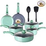Lovepan Peas Pots and Pans Set, Grey Ceramic Coating Nonstick Aluminum Cookware Set