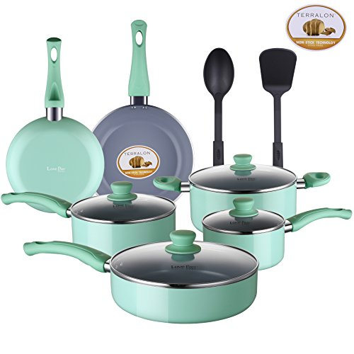 Lovepan Peas Pots and Pans Set, Grey Ceramic Coating Nonstick Aluminum Cookware Set with Glass Lids and Nylon Utensils, Dishwasher Safe PTFE, PFOA Free, 12-Piece, Tiffany Blue