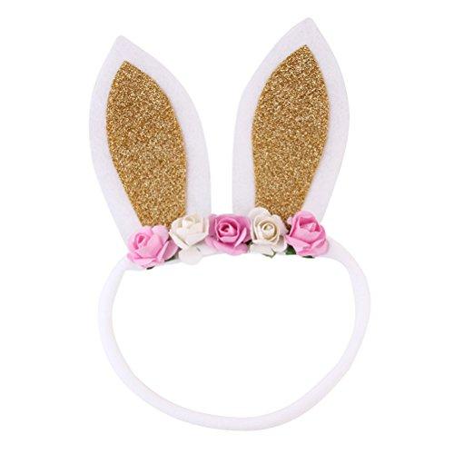 Lurrose Baby Bunny Ohren Stirnband Kaninchenhaar Hoop mit dekorativen Blumen Cosplay Kostüm Haarschmuck Party Favors (Golden)