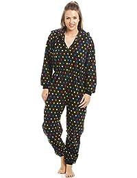 Pijama polar de una pieza con capucha - Estampado de lunares de colores