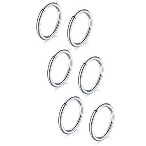 Vf vfun anelli del naso, 6 pezzi anelli del naso cartilagine orecchini cerchio a setto helix trago infinito inossidabile piccoli piercing 18 gauge 10mm