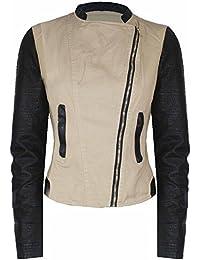 Womens Ladies Scuba Fabric Vintage Zip Detail Plain Bomber Biker Jacket Top 8-22
