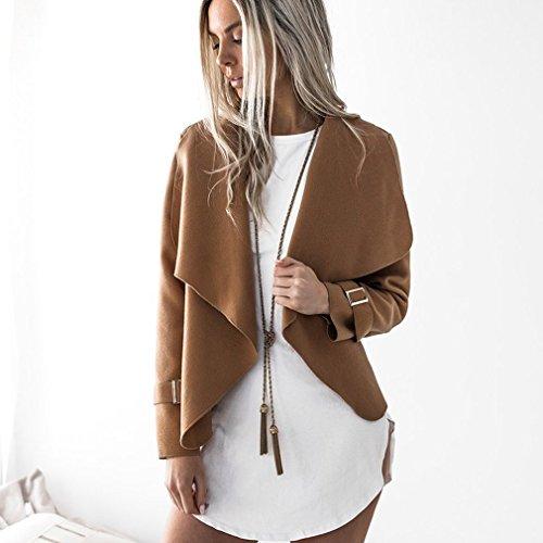 LnLyin Damen Mantel Revers Wolljacke Herbst und Winter Wollmantel für Damen Frauen Mädchen Khaki S