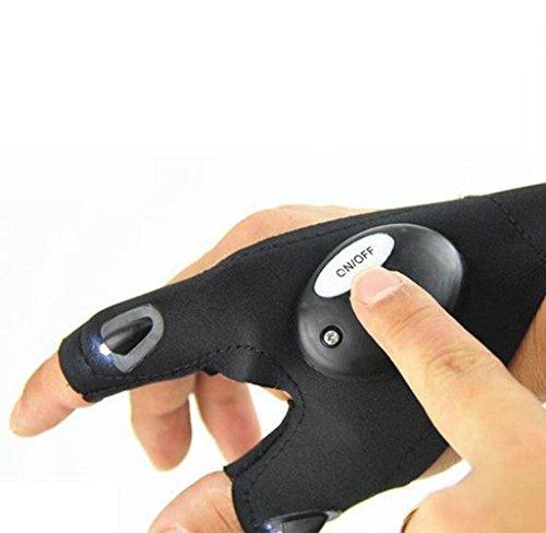 Covermason Outdoor Angeln Handschuhe mit LED-Licht Nachtangeln Handschuhe (Schwarz Rechte Hand)