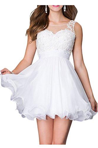 Promgirl House Damen Stilvoll Blau Rosa Weiss Spitze A-Linie Ballkleider Cocktail Abendkleider Kurz Weiß