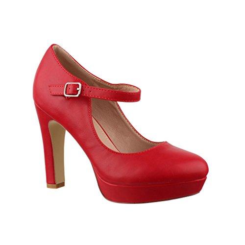 Elara Damen High Heels | Bequeme Spangen Pumps | Riemchen Vintage | Chunkyrayan | E22320 Red-39