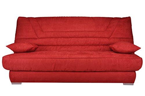 Banquette Bellatrix CC 140x190 B906 Convertible, Tissu, Rouge, 193 x 95 x 101 cm