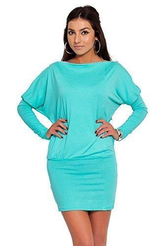 Futuro Fashion Glamour Femmes Mini Robe avec fermeture éclair sur épaule Jersey Manche Longue Tunique Tailles 8-18 UK 8440 Tourqoise