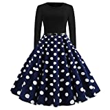IZHH Damen Vintage Kleider, Weihnachtsmode Frauen Langarm O Hals Abend Dot Printing Exquisite Cartoon Print Party Prom Swing Kleid Festival Karneval Cocktailkleid(U-Marine,Medium)