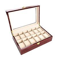 12 Pcs Classic High-Grade Watch Bracelet Case Storage Box Claret Wood Spray Paint with Glass Plate Window Red
