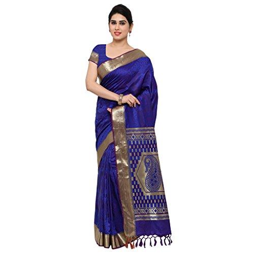 Varkala Silk Sarees Women\'s Art Silk Kanchiuram Saree With Blouse Piece(AWJP7105RBV_Blue_Free Size)