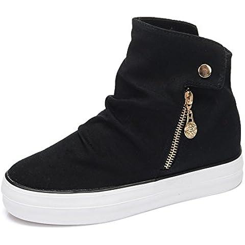 LYF KIU high-top scarpe di tela autunno/cerniera semplice scarpe signora crosta spessa