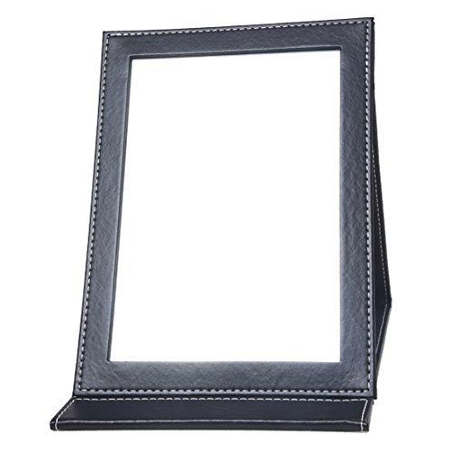 TOOGOO(R) Miroir Pliable En Bristol Cuir Noir 230x180mm Portable