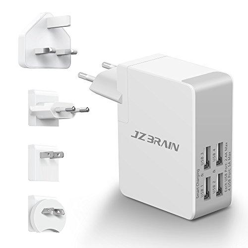 JZBRAIN Chargeur USB Secteur avec 4 Ports USB 5V 5A Chargeur USB de Voyage Mural Universel avec 4 Fiches Adpatateurs Détachables EU US UK AU Chargeur ...