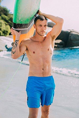 GUGGEN MOUNTAIN Herren Badeshorts Beachshorts Boardshorts Badehose *Schwarz Grau Blau* Blau