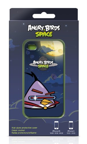 Gear4 ICAS405G Angry Birds Space Black Bird Schutzhülle für Apple iPhone 4/4S schwarz Lila