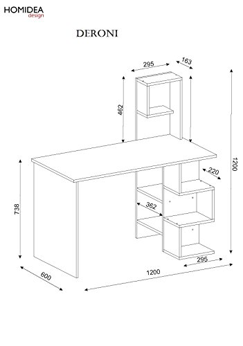 Compare Prices for DERONI Bureau – White / Walnut – Computer Workstation – Home Office Desk – Writing Table with shelf unit in modern Design on Line