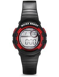 Lorus-R2379HX9 Unisex Watch Digital Quartz Stopwatch, Lighting, Black Rubber