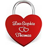 Herz Liebesschloss Rot mit Wunsch-Gravur beidseitig ♥ Inkl. gratis Geschenkbeutel, Geschenkbox & Geschenkkarte