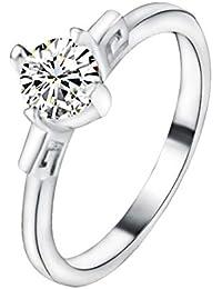 Saino - Anillos de Boda clásicos de Diamantes, para Mujer, Finos Anillos de Compromiso