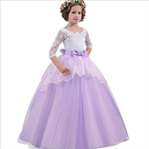 Spitze Kostüm Satin - Frauenkleid Mädchen Schulterfrei Bowknot Prinzessin Kleid Spitze Satin Blumenmädchen Hochzeit Kostüm Klavier Performance Kleidung 5-14 Jahre (Color : Purple, Size : 9-10Years)