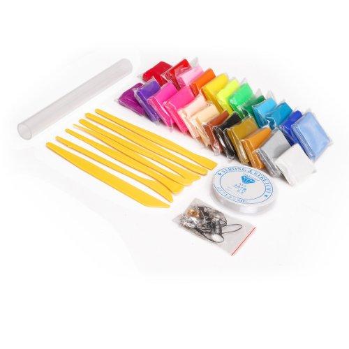 24 Farben Polymer Ton Clay Ofen und Modellierung Modellierwerkzeug Perlenfaden Rollstab Figur DIY Basteln Scrapbooking - Polymer Clay Farbe