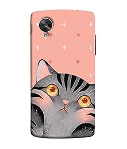 PrintVisa Greyish Cat 3D Hard Polycarbonate Designer Back Case Cover for LG Nexus 5X :: LG Google Nexus 5X New