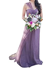 LaoZan Vestidos de Fiesta para Bodas Largo - Cambiable - Halter Tirantes o Sin tirantes -