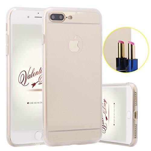 ZXK-CO-iPhone-7-Plus-Funda-Carcasa-Silicona-TPU-para-iPhone-7-plus-55-Pulgadas-Lujo-Aluminio-Delgada-Efecto-Espejo-Metal-Cover-Fino-Caso-Case-Dorado