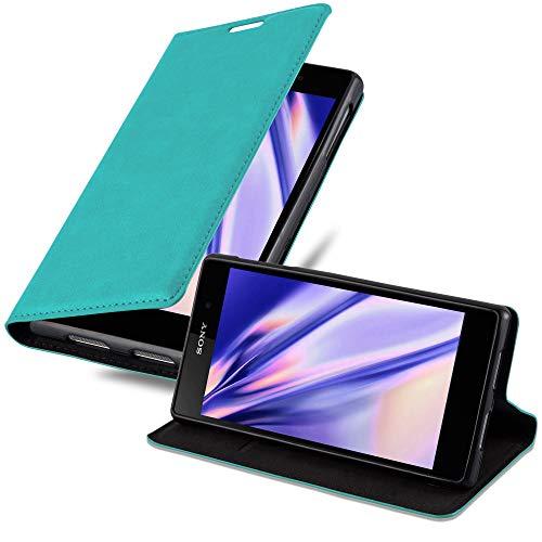 Cadorabo Coque pour Sony Xperia Z1 en Turquoise PÉTROLE - Housse Protection avec Fermoire Magnétique, Stand Horizontal et Fente Carte - Portefeuille Etui Poche Folio Case Cover