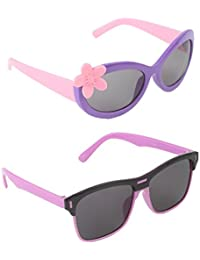 Stol'n Kids Wayfarer And Flower Sunglasses Combo Pack Of 2 Pieces For Girls/Black And Pink/Pink And Purple/Gift...