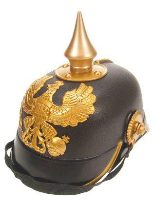 Pickelhaube Helm Kostüm - Pickelhaube schwarz gold preußisches Militär Helm Preußen Polizei