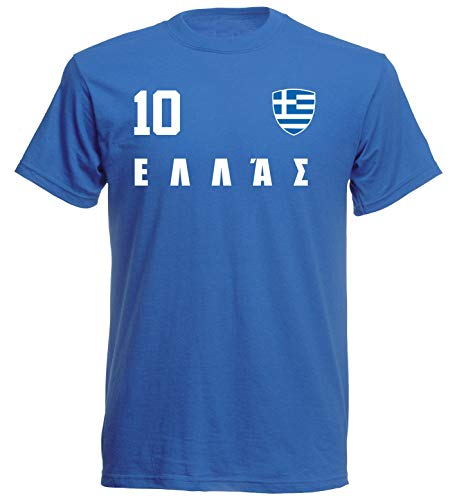 Griechenland Hellas WM 2018 T-Shirt Trikot Style - Blau ALL-10 - S M L XL XXL (M)